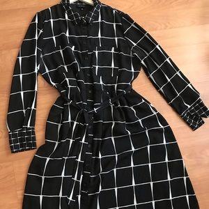 Black and White Checked Chiffon Shirt Dress